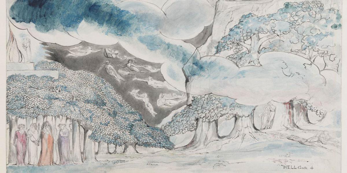 """illustrazione di William Blake """"Omero e gli antichi poeti"""" (1824-7)"""