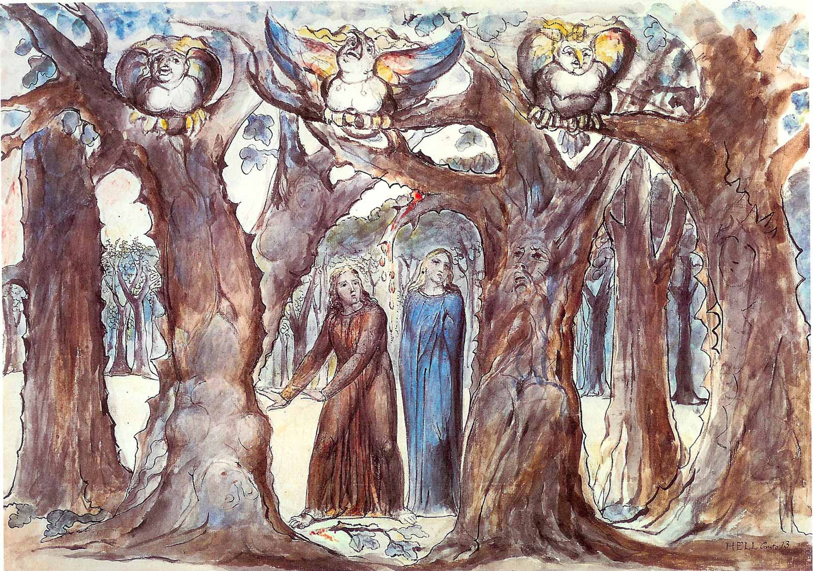 La selva dei suicidi secondo William Blake